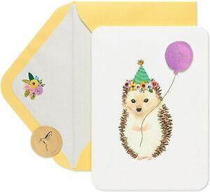 PAPYRUS Birthday Card - Watercolor Embossed Hedgehog + Gem Crown + 3D balloon