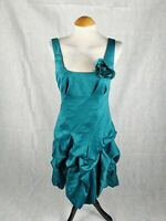 Ladies Dress Size 10 MONSOON Teal Satin Hitched Draped Satin Party Evening