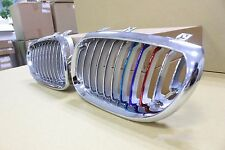 Front Kidney Grille Chrome & Silver with ///M Color For BMW 5-Series E60 E61