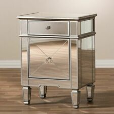 Baxton Studio Claudia Hollywood Regency 2 Drawer Mirrored Nightstand RS2403
