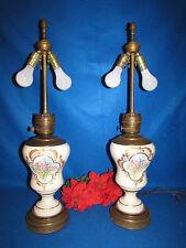 "ANTIQUE PORCELAIN & BRASS GOLD & FLOWERS  KEROSENE OIL LAMPS ELECTRIFIED 30 1/2"""