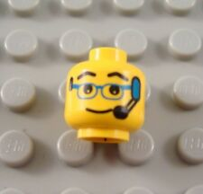 LEGO Yellow Minifigure Head Body Part with Glasses and Blue Headset