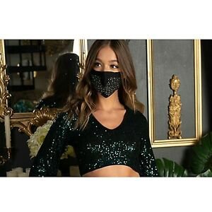 BLING Sparkly Crystal Rhinestone Filter Pocket Reusable Cotton Fashion Face Mask