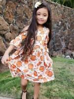 Girls Toddler Fall Cold Shoulder Pumpkin Patch Bell Sleeve Dress 2T 3T 4T 5 6 7