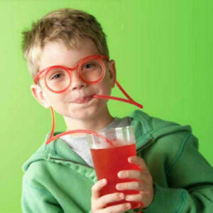 Red Fun Wearable Drink Straw Glasses Novelty Flexible Kids Party Tableware Bar