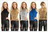 Women's Shimmer Sparkly Sequin Embellished Sleeveless Halter Neck Vest Tank Tops