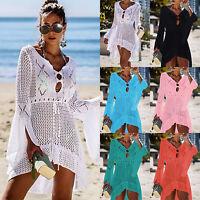 Damen Gestrickt Pullover Strand Bikini Cover Up Sommer Tunika Minikleid Longtop