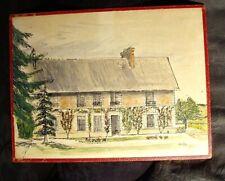Dessin ancien encre et aquarelle maison jardin manoir signé à droite ???Ball