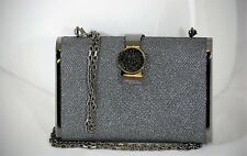Italian black and dark grey evening bag ,swarovski crystals; FACTORY PRICE ITALY