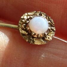 Opaline Glass Stick Pin circa 1740 Georgian 15ct Gold and foil back