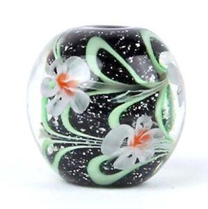10pcs exquisite handmade Lampwork glass beads black green flower round 14mm