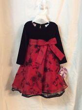 Blueberi Boulevard Girls Holiday Black Velvet Dress With Red Taffeta NWT