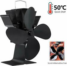 Wood Stove Heat Powered Fan with 4 Blades Quiet Operation Eco-Friendly Efficient