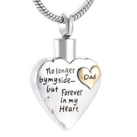 Dad Father Urn Pendant Necklace Keepsake Heart Cremation Ashes Funeral Memorial