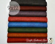 "BRIGHT HEATHERED HUES Collection Merino Wool Blend Felt, EIGHT 9"" X 12"" Sheets"