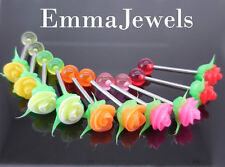 NEW 10 PC Lot Silicone Rose Tongue Ring Stainless Steel Barbells Body Jewelry