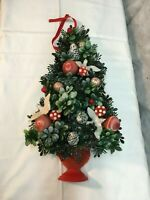Vintage Mid Century Plastic Holly Berry Christmas Tree Window 15in Tall Holiday