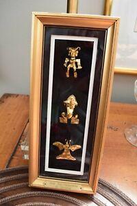 Reprosa 24K Goldplate Over Sterling 3 Framed Huacas Pre-Columbian Repro Panama