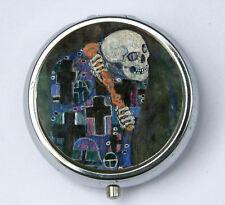 Klimt Death PiLL case pillbox pill holder Art Nouveau fine art painting skull