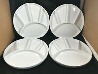 Set of 4 Vintage ETCO Industries USA White Divided Dishes 9-1/4""