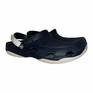 Crocs Iconic Comfort Thick Sole Two Tone Navy White Clogs Men's 8