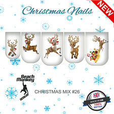 Nail Art Nail Wraps Nail Decals Water Transfer Rudolf Reindeer CHRISTMAS MIX #26