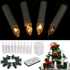 10x White Wireless Framedless Church Candles LED Light with Remote Control&Clip