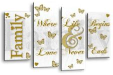 Family Quote Art Picture White Gold Love Home Canvas Wall Print 112 cm