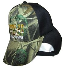 Born to Fish Forced to Work Bass Shadow Camo Camouflage Black Ball Cap Hat