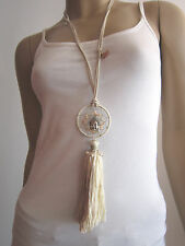 f1d6d6ac76ac5f XL Hippie Modekette Damen Hals Kette lang Leder Traumfänger Buddha Weiss  Boho