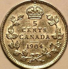 1904 CANADA SILVER 5 CENTS COIN - Fantastic example!