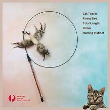 Cat Play Feather Teaser Wand Toy Interactive Stick Kitten Pet  Fun Wire Bird
