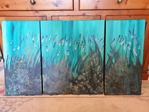 Healing Lavender Garden abstract series - LYNNE PICKERING - CANVAS WRAP - AS NEW