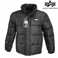 Puffer Jacket Alpha Industries US Flight Down Insulated Parka Padded Coat Black