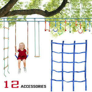 Ninja Warrior Obstacle Course for Kids 50' Ninja Slackline with 12 Accessories
