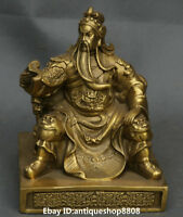 "6"" Chinese Bronze Seat Guan Gong Yu Warrior God Soldier Book Chair Dragon Statue"