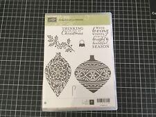 Stampin Up! - Stamp Set of 7 -EMBELLISHED ORNAMENTS  - wood mount