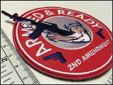 ARMED AND READY patch 2nd Amendment NRA M16 Gun Come and Take it America USA 86