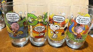 Charlie Brown Camp Snoopy McDonalds Glasses Set of 4 Vintage  Peanuts