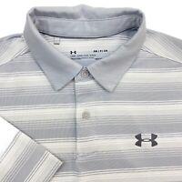 Mens S Under Armour Gray Stripe Loose Fit HeatGear Short Sleeve Polo Shirt Small