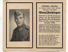 WW2 GERMAN DEATH CARD-PANZERFUHRER AWARD/SA AWARD-GOLD HJ-AFRIKA KORPS JUL 1942