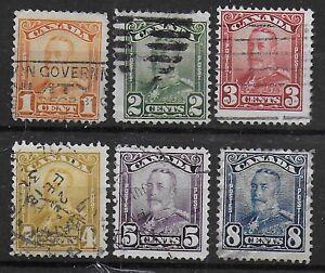 Canada, 1928, SG 275-280;  Sc 149-154, used.