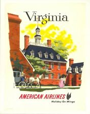 ORIGINAL Vintage Travel Poster VIRGINIA American Airlines Mansion BERN HILL