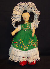 Antique Handmade Doll With Handmade Lace & Dress
