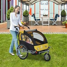 3-in-1 Double Child Baby Kids Bike Trailer Jogger Stroller & Jogger Black/Yellow