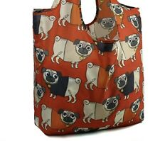 Red Pug Dog 💕 Reusable Foldable Shopping Tote Bag 💕 Valentines Gift New Puppy