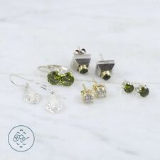 Sterling Silver | (QTY 5 Pair) Gold Accent Green Quartz Earrings 9.5g | Lot