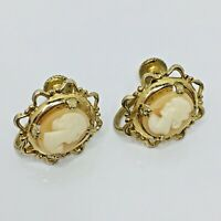 Vintage Coro Cameo Earrings Screwback Ruffled Gold Filigree