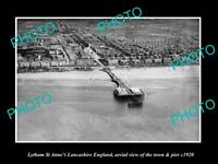 OLD LARGE HISTORIC PHOTO OF LYTHAM ST ANNES ENGLAND, VIEW OF TOWN & PIER c1920 2