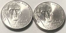 2016 P and D 2 Coin Jefferson Nickel Set In AU Condition